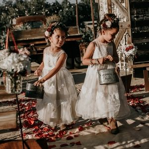 Banded-Lace Illusion Flower Girl Dress